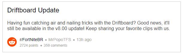 Epic сказали, что ховерборд останется в Fortnite в течение 8 сезона