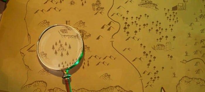 Найдите место, где находится лупа на экране загрузки «Карты сокровищ» 1