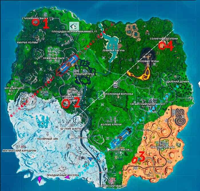 Доберитесь до разных часов в Фортнайт – карта с локациями